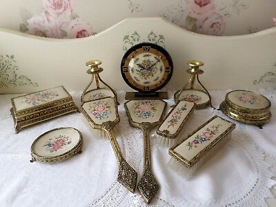 Stunning Vintage 10 Piece Petit Point Dressing Table/Vanity Set Working Clock