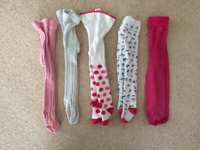 Girls 6-12 Months Tights, Pink, Cream, Floral, 5 Pairs, 6-9, 9-12