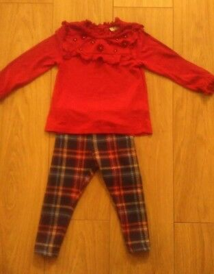 Next girls red top, navy top & tarten leggings - 1.5-2 years. Christmas outfit.
