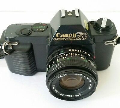 Canon T50 35mm SLR Film Camera 35-70mm lens and strap