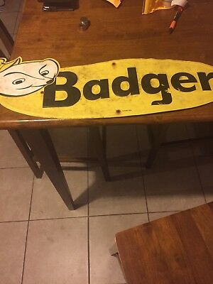 Badger Farm Metal Advertising Sign Embossed Cow Chicken Pig Horse