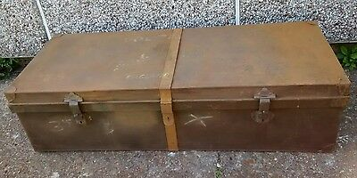Antique Solid Metal Large Trunk/chest/coffee Table/coffer/storage/tool Box