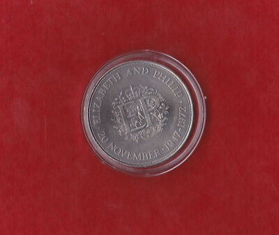 H M Queen Elizabeth Silver wedding Crown coin 1947- 1972 UNCIRCULATED IN CAPSULE