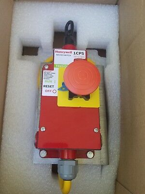 New Honeywell 1CPSA2 MICRO CABLE PULL SAFETY SWITCH with emergency stop button.