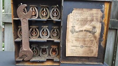 Grinnell Antique Vintage Fire Sprinkler Heads Supply Box,12 Heads & Wrench