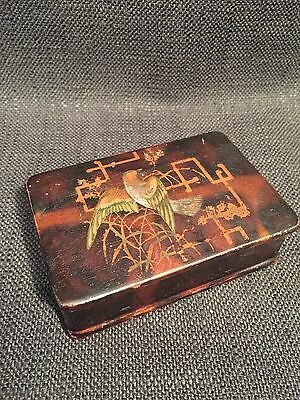 Vintage Antique Chinese Lacquered Box With Bird Design & Red Interior