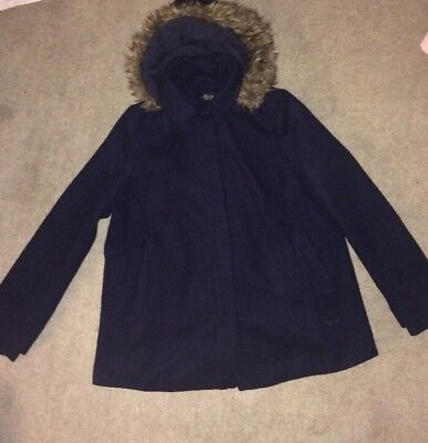 Size 14 Top Shop Maternity Navy Blue Coat With Hood, Winter