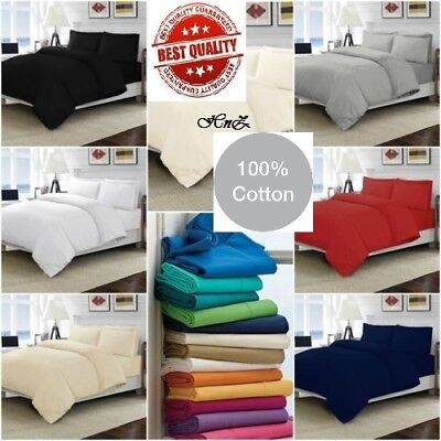 Flannelette Thermal Duvet Quilt Cover Set Soft Brushed Cotton Fitted, Flat Sheet
