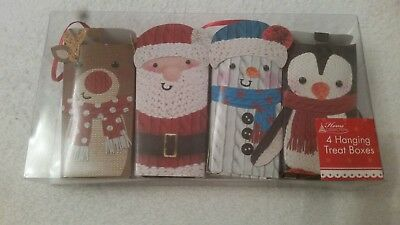 Christmas hanging treat boxes x4