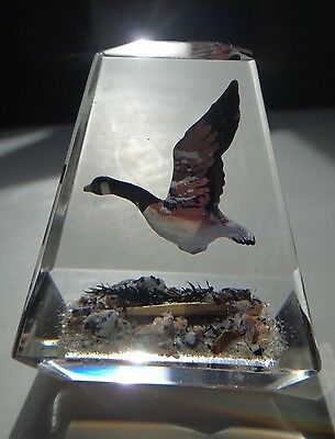 Vintage Lucite Paperweight Flying Canada Goose ~ FREE SHIPPING