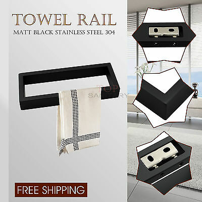 Square Hand Towel Rack Rail Ring Wall Mounted 200mm Matt Black SS304 Bathroom