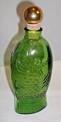 Doctor Fisch's Bitters Green Glass Reproduction Fish Decanter By Wheaton Glass