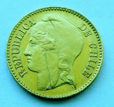 1895 Chile 5 pesos Gold Coin ** RARE !!! ** Santiago mint.