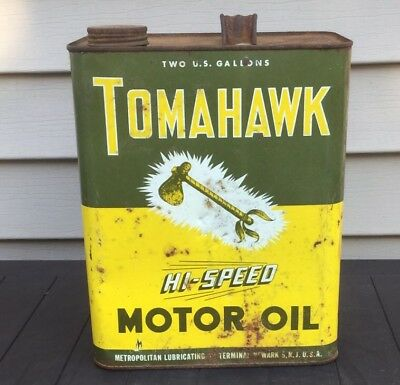 Vintage Tomahawk Motor Oil Gas Station Can