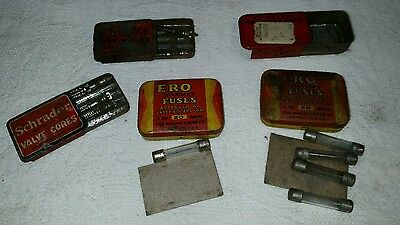 Vintage Mixed Lot of 5 Tin Containers - Schrader Valve Ero Fuses GMC w/ contents