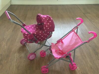 Childs Girl Toy Pram Stroller Set x2 Pink Polka Dots Girls Dolls