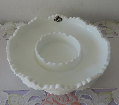 FLOAT BOWL - Fenton - Milk Glass - Hobnail Fluted - Vintage - Ex As NEW Cond