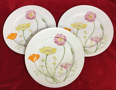 "Set of 3 Jardin GENEVIEVE Fine China Japan 10 1/4"" Floral Dinner Plates GUC!"