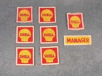 Lot of 8 Vintage Shell Gas and Oil Uniform Patches
