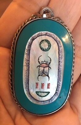 Beautiful Vintage Painted Mother Of Pearl Enamel Scarab Egyptian Pendant
