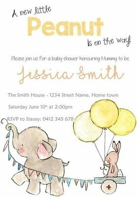 Cute Elephant Personalised Baby Shower Invitations - Brand New - Gender Neutral