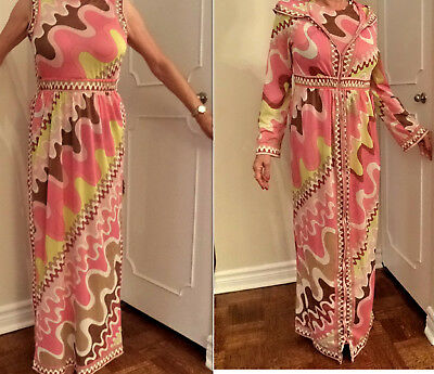 Emilio Pucci 2-pc Set Gown Dress Robe Maxi GoGo Psychedelic Op Art 60s Retro SM