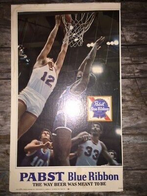 Vintage Pabst Blue Ribbon Beer  Basketball Sign Advertising Cardboard