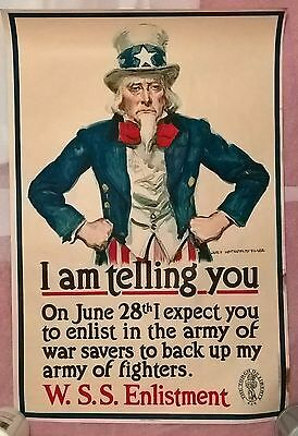 Original 1918 -Uncle Sam Fists On Hips War Poster, 30X 20.published In Usa