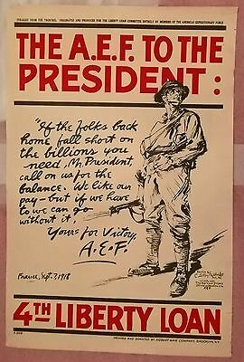 ORIGINAL 1918 - 4th  LIBERTY LOAN  WAR POSTER, 30X 20.PUBLISHED IN USA