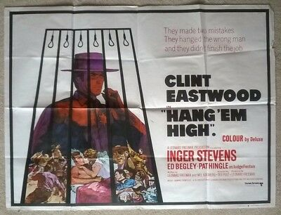 Hang Em High 1968 Original Uk Quad Poster .