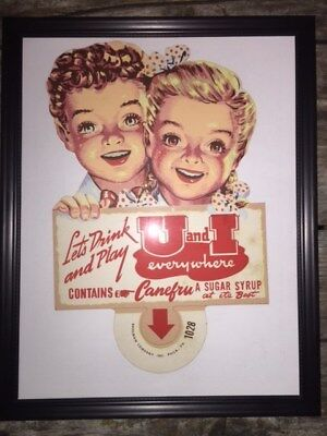 1920 Bottle Topper Lets Play U & I rare Canefru Sugar Syrup Soda Pop Sign framed