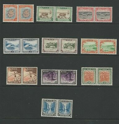 NIUE STAMPS - 1950 Pictorials, FULL SET in Pairs, SG 113-122 (10 values), MNH