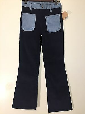 Vintage 1970s New Blue Two Tone Corduroy Bell Bottom Pants 27x28 NOS Never Worn