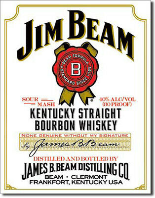 Jim Beam - White Label - Large Metal Tin Sign 40.6Cm X 31.7Cm Genuine American