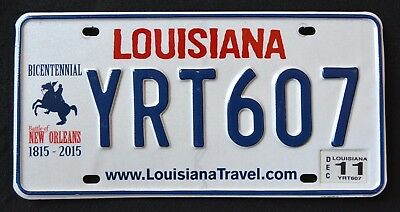 "LOUISIANA ""  BATTLE of NEW ORLEANS BICENTENNIAL YRT 607 LA Graphic License Plate"