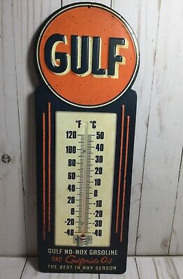 Gulf No-Nox Gasoline & Gulf Pride Motor Oil Thermometer Embossed Metal Sign