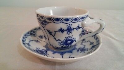 Vintage Blue Fjord L & M, Lipper & Mann Tea Cup and Saucer Set with Floral Mint