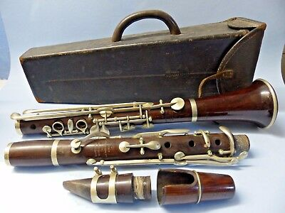 Fine Quality Early E J Albert Brussels Clarinet In Original Old Leather Case
