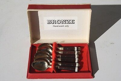 Boxed set of 6 bronze timber teaspoons