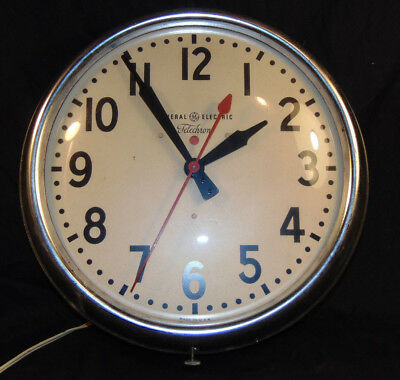 Vintage General Electric Telechron Round Electric Schoolhouse Wall Clock WORKS