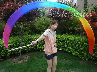 "1pc 2.5m*0.3m(98""x12"") light 5mm silk worship streamer, Rainbow"