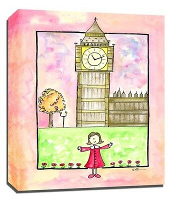 Travel Girl London, Print or Canvas Wall Art Decor, Kids Bedroom Baby, Adoption