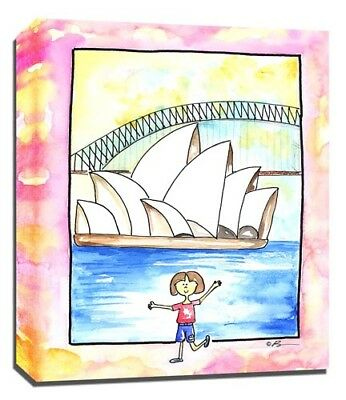 Travel Girl Sydney, Print or Canvas Wall Art Decor, Kids Bedroom Baby, Adoption