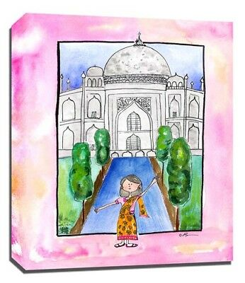 Travel Girl India, Print or Canvas Wall Art Decor, Kids Bedroom Baby, Adoption