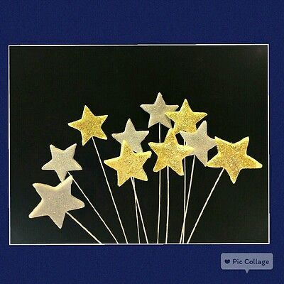 12 EDIBLE CAKE CUPCAKE TOPPERS  DECORATION STARS on WIRES BIRTHDAY