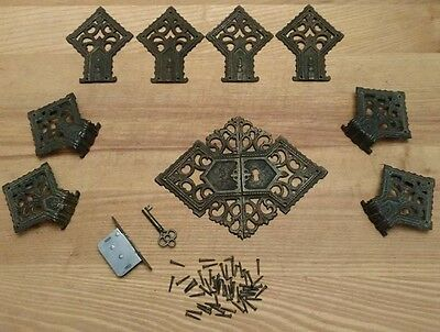 Antique Lot Cast Brass Cabinet Door Hardware Salvage Restoration Arts & Crafts