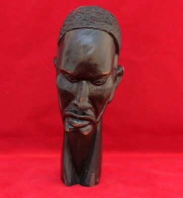 African Carved Ebony Wood Bust - Man's Head