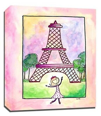 Travel Girl Paris, Print or Canvas Wall Art Decor, Kids Bedroom Baby, Adoption