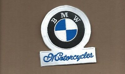 New 3 3/4 X 4 Inch Bmw Motorcycle Iron On Patch Free Shipping