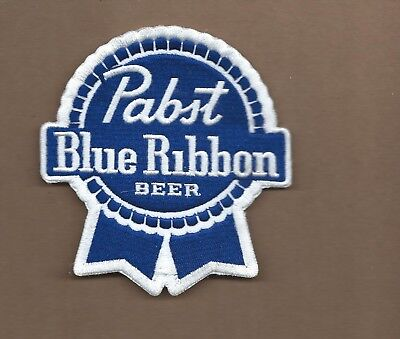 New 4 X 4 1/4 Inch Pabst Blue Ribbon Iron On Patch Free Shipping